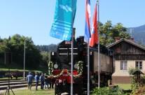 Obnovljena parna lokomotiva na postaji Dravograd